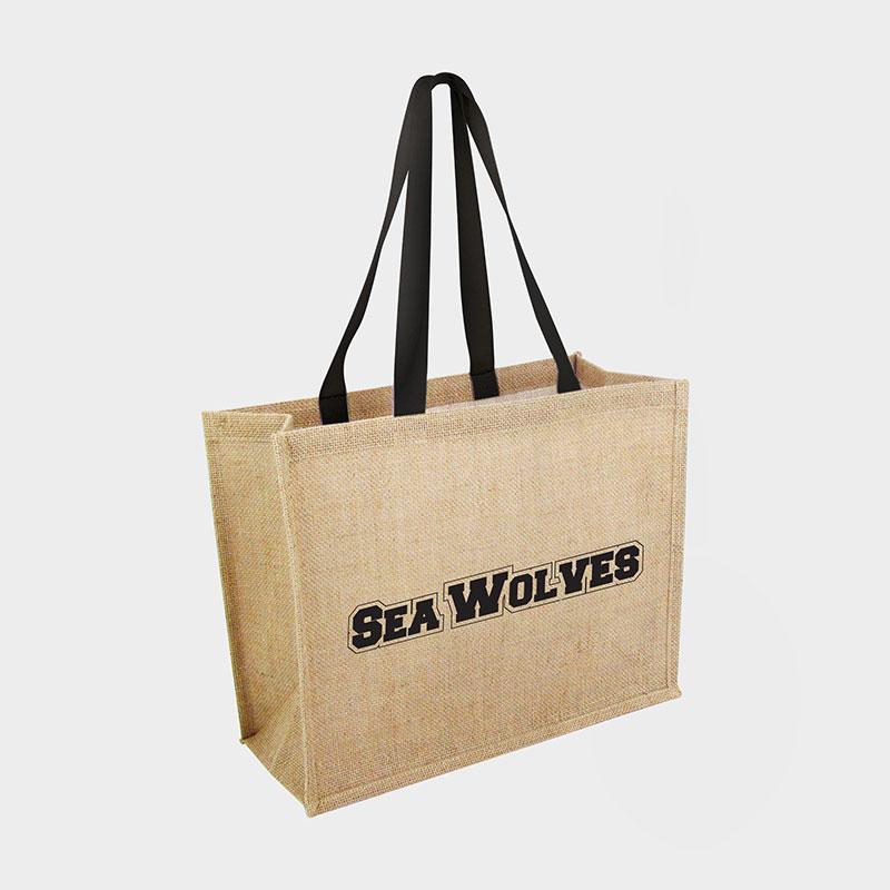 Branded Eco Bag - Green & Good Taunton Jute Shopper with Black Handles