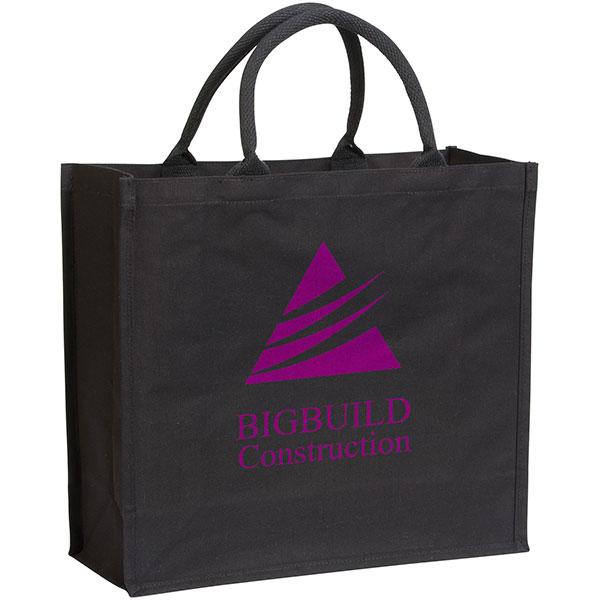 Black Broomfield 7oz Laminated Cotton Tote Bag, Stupid Tuesday's Bag Store
