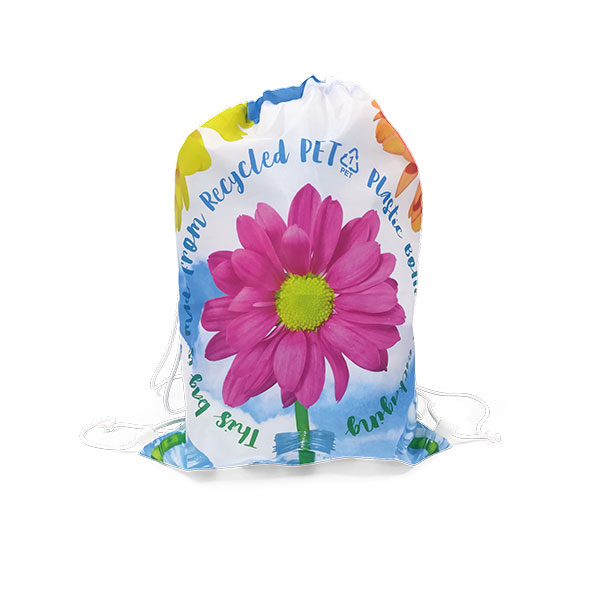 Printed drawstring bag made from rPET and printed full colour