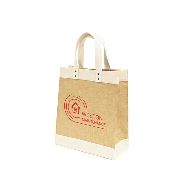 Luxury printed tote bag made of jute