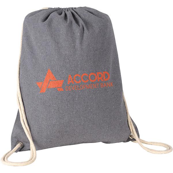 Recycled cotton printed drawstring bag